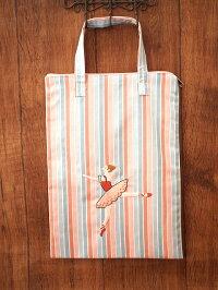 ハンドメイド手刺繍&バレエ*トートバッグ《ピンクストライプ/オレンジ》