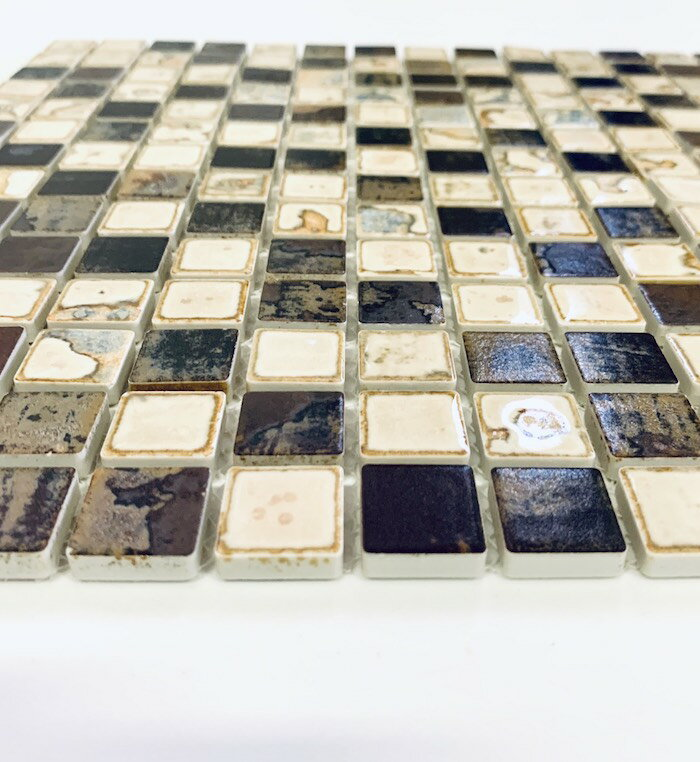ラスティカリーヴァ 20x20mmモザイクタイル裏ネット仕様1シート 四角 DIY インテリア 工作 おすすめの 小さい 陶磁器 タイル