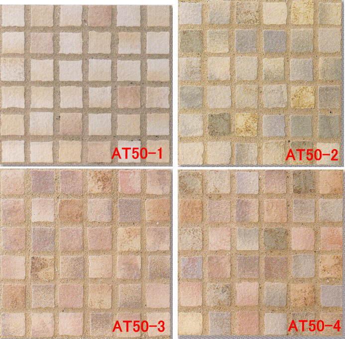 モザイクタイル シート アンティーク 45角 磁器 ウェザリング。ミックスデザインタイル対応、おしゃれなアンティーク、レトロモダン風。キッチン・玄関・テーブル・浴室(風呂)洗面所のDIYリフォームにOK。床・壁インテリア建材・日本製・美濃焼・耐熱モザイクタイルの写真