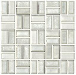 チロル シート販売(バスケットウェーブ貼り) 白。内装壁のDIYに(200粒)おしゃれなデザイン、かわいい色と模様 レトロモダン風。キッチン・玄関・テーブル・洗面所のリフォームにOK。壁建材・日本製・磁器質・美濃焼・耐凍害