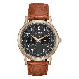 【ソーラー】CITIZENECO-DRIVEMENSシチズンエコドライブメンズAO9003-08E送料無料腕時計時計逆輸入ゴールド金ブラック黒レザー革ベルト日本未発売