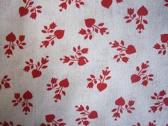 フィードサック 白地赤いお花 (1/16サイズ)