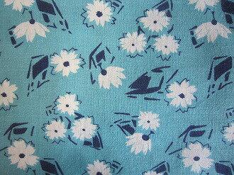フィードサック 水色地白お花 (1/16サイズ)