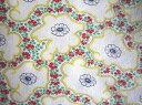 フィードサック 白地赤緑小花 (1/16サイズ)