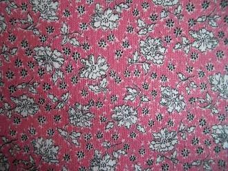 フィードサック  ピンク地白お花 (1/16サイズ)