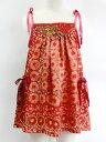 NIXIE CLOTHING ニクシークロージングヴィンテージ シルクプリント ストラップドレス《レッド》6才(115cm)
