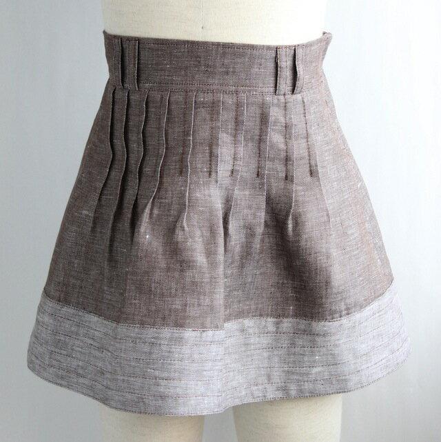 リネンシャンブレー タックフレアースカート《マロン 8才、10才》