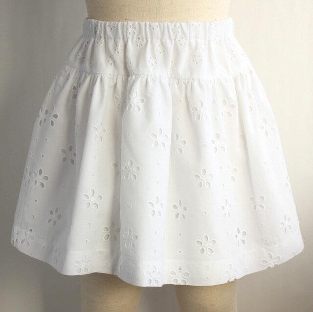 レース ティアードスカート《ホワイト 8才、10才》