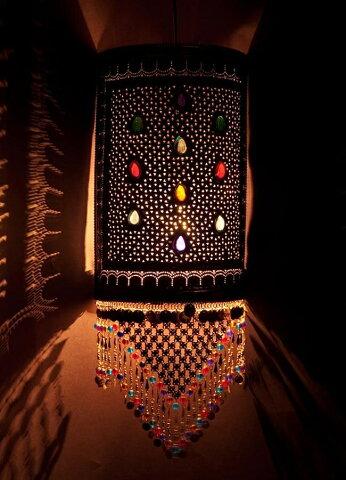 【送料無料】 壁掛 角形ハーレムランプ【66cm】 / アラビア風ランプ アジアン ランプシェード エスニック インド 雑貨