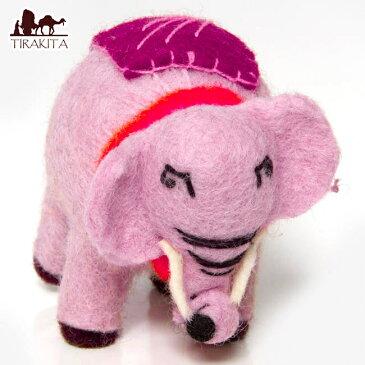 手作りフェルトのまんまるぞうさん ピンク / ゾウ ネパール ゆるキャラ インド雑貨 ネパール雑貨 エスニック アジア