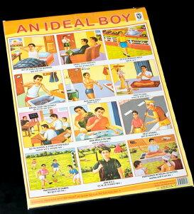 IDEAL BOY(理想的な少年) インドの教育ポスター / おもしろ Delhi6 アジア 本 印刷物 ステッカー ポストカード