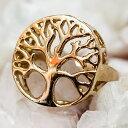 生命の樹と円環のゴールドリング / 指輪 アクセサリー 金色 インド 神様 バングル エスニック アジア アンクレット ピアス ビンディー