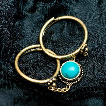 【安心のフリーサイズ】チャーム付きゴールド2連リング / 天然石 指輪 アクセサリー 金色 インド 神様 バングル エスニック アジア アンクレット ピアス ビンディー