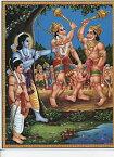 〔約30cm×約23.3cm〕インドのヒンドゥー神様ポスター ハヌマーン / ハヌマン 本 印刷物 ステッカー ポストカード