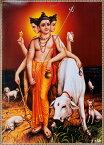 〔約71cm×約51cm〕大判インドのヒンドゥー神様ポスター ダッタトレーヤ / シヴァ ブラフマー ヴィシュヌ レビューでタイカレープレゼント あす楽