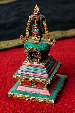【送料無料】 ストゥーパ 緑青石仕上げ 21.5cm / 仏塔 卒塔婆 ストゥーバ アジア チベタン マニ エスニック インド 雑貨
