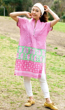 ペイズリープリントのボタン付きクルティ / チュニック コットン シャツ 女性用 トップスブルー/ピンク/グリーン(パイピング青)/グリーン(パイピング赤)/オレンジ レビューでタイカレープレゼント あす楽