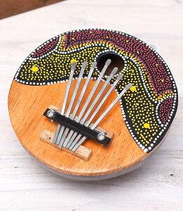 7弦ココナッツカリンバ 【赤波柄】 民族楽器 バリ インド アジア エスニック
