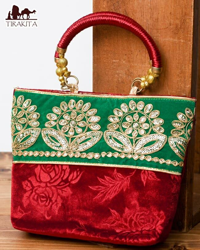 產品詳細資料,日本Yahoo代標|日本代購|日本批發-ibuy99|包包、服飾|包|女士包|手提包|インドのゴージャスハンドバッグ 緑地フラワー / 手提げ サリー クラッチバッグ アジアン レディ…