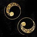 インド伝統模樣の艶めきゴールドピアス / エスニック アクセサリ 伝統模様 アジア アクセサリー アンクレット リング ビンディー