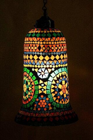 【送料無料】 吊り下げモザイクランプ 直径17cm / アラビア風ランプ インテリア アジアン ランプシェード エスニック インド 雑貨