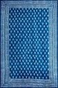 インド藍染めのマルチクロス〔約222cm×約145cm〕 / インディゴブルー ダブル ベッドカバー レビューでタイカレープレゼント あす楽