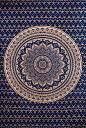 マルチクロス ネイビー&ゴールドラメマンダラ〔約206cm×約132cm〕 / ダブル ベッドカバー インド綿 布 ソファーカバー レビューでタイ..
