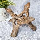 一本の木を彫って作ったマンゴーウッドボウルスタンド3本足タイ
