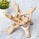 一本の木を彫って作ったマンゴーウッドボウルスタンド4本足タイ