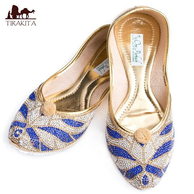 ゴージャス ラインストーンのマハラニフラットシューズ / 靴 パンプス ペッタンコ靴 インド アジア サンダル レディース エスニック衣料 アジアンファッション エスニックファッション