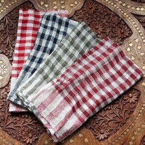 インドのコットンダスター 4色セット / 布 台布巾 台ふきん 小さな布 アジア キッチンダスター ファブリック エスニック