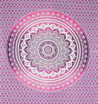 マルチクロス グラデーションマンダラ【約223cm×約205cm】 / ダブル ベッドカバー インド綿 布 ソファーカバー レビューでタイカレープレゼント あす楽