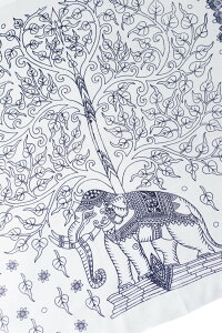 200cm×100cm 生命の木と象のラムナミ 白 【レビューで250円クーポン進呈&あす楽】 神様布 スカーフ インド布 アジア ファブリック エスニック