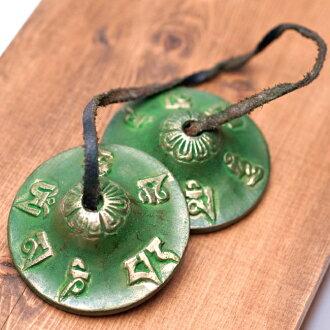 Colordincha (中)-綠色民族樂器,印度、 亞洲,在西藏,藏族鈴,· 曼西利亞,尼泊爾儀器,尼泊爾打擊樂器,民族 tingshas 打擊樂、 民族民間樂器、 打擊樂器