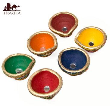 ミラー付きカラフル素焼き小皿6個セット 卍マーク装飾 / アジア 陶器 ディワリ エスニック インド 雑貨
