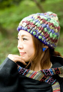 もこもこニット帽-フリース付き 紫×グリーン系  
