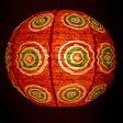 ロクタ紙ランプシェード − 円盤型 小(赤) 釣り アジアン 手すき 和紙 エスニック インド 雑貨