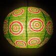 ロクタ紙ランプシェード − 円盤型 小(黄緑) 釣り アジアン 手すき 和紙 エスニック インド 雑貨