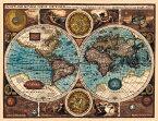 【17世紀】アンティーク地図ポスター A NEW AND ACCVRAT MAP OF THE WORLD 【両半球世界地図】 / 古地図 インド 東南アジア 本 印刷物 ステッカー ポストカード