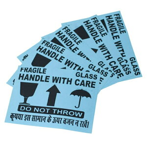 インドの壊れ物ステッカー - 水色(5枚セット) シール 危険表示 紙 神様 本 印刷物 ポストカード ポスター