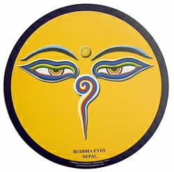 マウスパッド ブッダアイ(濃い黄色) / アジアン ネパール チベット エスニック インド 雑貨