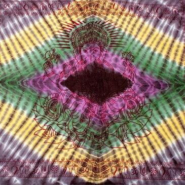 〔195cm*100cm〕ガネーシャ&ヒンドゥー神様のタイダイサイケデリック布 黒紫×黄×ピンク×緑系 / ラムナミ あす楽