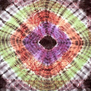 〔195cm*100cm〕ガネーシャ&ヒンドゥー神様のタイダイサイケデリック布 黒×紫×オレンジ×緑系 / ラムナミ あす楽