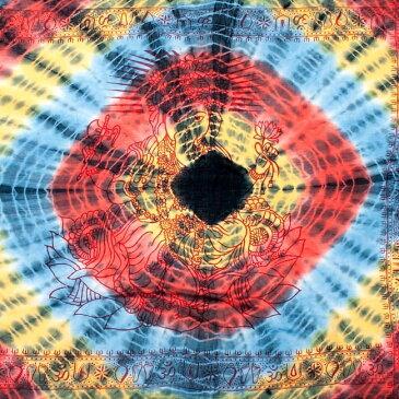 〔195cm*100cm〕ガネーシャ&ヒンドゥー神様のタイダイサイケデリック布 黄×赤×水色×黒系 / ラムナミ あす楽