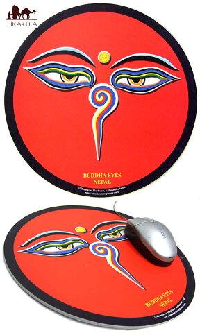 マウスパッド ブッダアイ(赤色) / アジアン ネパール チベット エスニック インド 雑貨