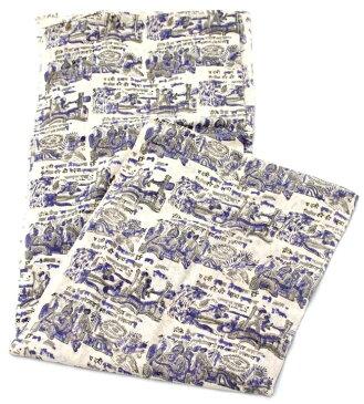 【ウッドブロック】カディコットン風マルチクロス 物語柄(青紫×グレー系)【240cm×150cm】 / シングル ベッドカバー ソファーカバー レビューでタイカレープレゼント あす楽