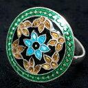 シルバー925 ムガルのシルバーリング 青×緑系 / 銀 SILVER925 銀細工 指輪 インド 神様 バングル エスニック アジア アクセサリー アンクレット ピアス ビンディー