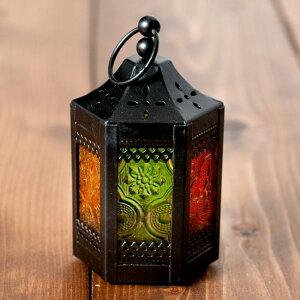 スタンド型LEDキャンドルランタン11.5cm キャンドルホルダー ガラス【ロウソク風LEDキャンドルライト付き】吊り下げOK 本物みたいにゆらめく灯火 ゆらぎが美しい オレンジ色 火を使わないので安心 ボタン電池付き アンティーク風 キャンドルスタンド 【レビューで200円クーポ