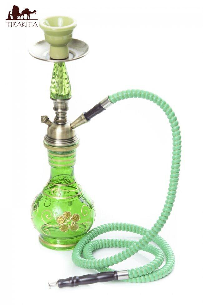 シーシャ(水タバコ)緑【約38.5cm】 / 水パイプ 水煙管 フッカー ナルギレ エスニック インド アジア 雑貨