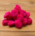 インドのカラフル ポンポン(ピンク)約2cm×20個程度 / 手芸 毛糸 チロルテープ ボンボン アクセサリーパーツ ペンダントトップ エスニック アジア アンクレット ピアス リング ビンディー